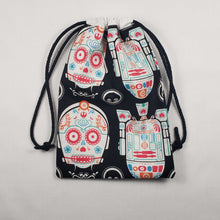Load image into Gallery viewer, Star Wars Sugar Skull Drawstring Dice Bag Strings Pulled