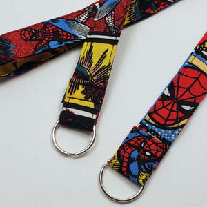 Swinging Spiderman Lanyard and Key Fob with Split Ring