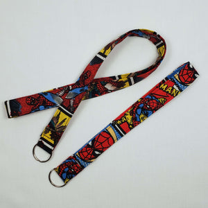 Swinging Spiderman Lanyard and Key Fob Full View