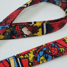 Load image into Gallery viewer, Swinging Spiderman Lanyard and Key Fob Close Up
