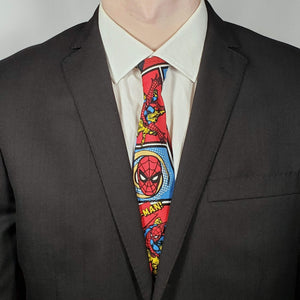 Swinging Spiderman Necktie Worn with Suit