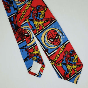Swinging Spiderman Necktie Front and Back