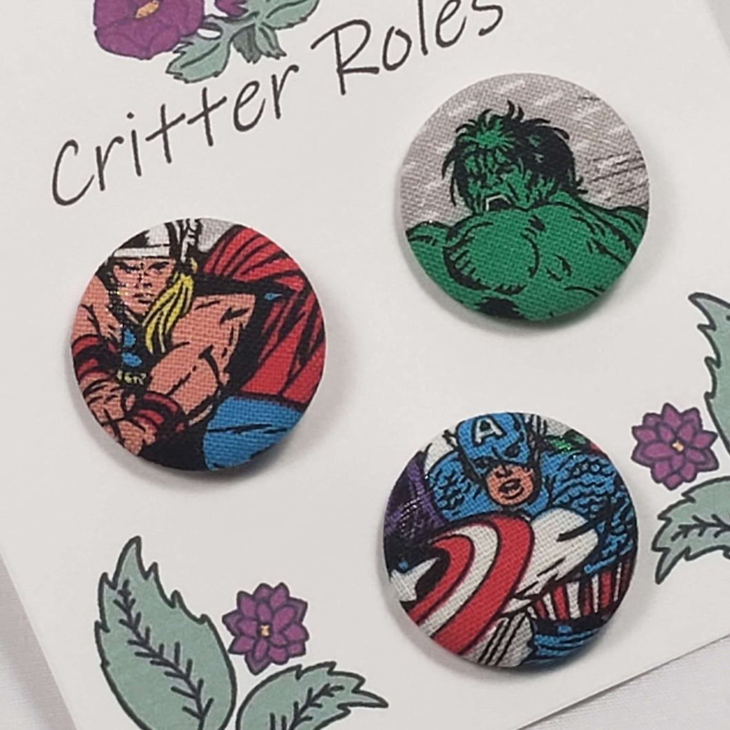 Thor, Hulk, and Captain America Buttons Close Up
