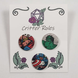 Thor, Hulk, and Captain America Buttons
