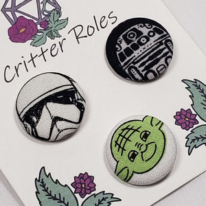 Yoda, Storm Trooper, R2D2 Buttons Close Up