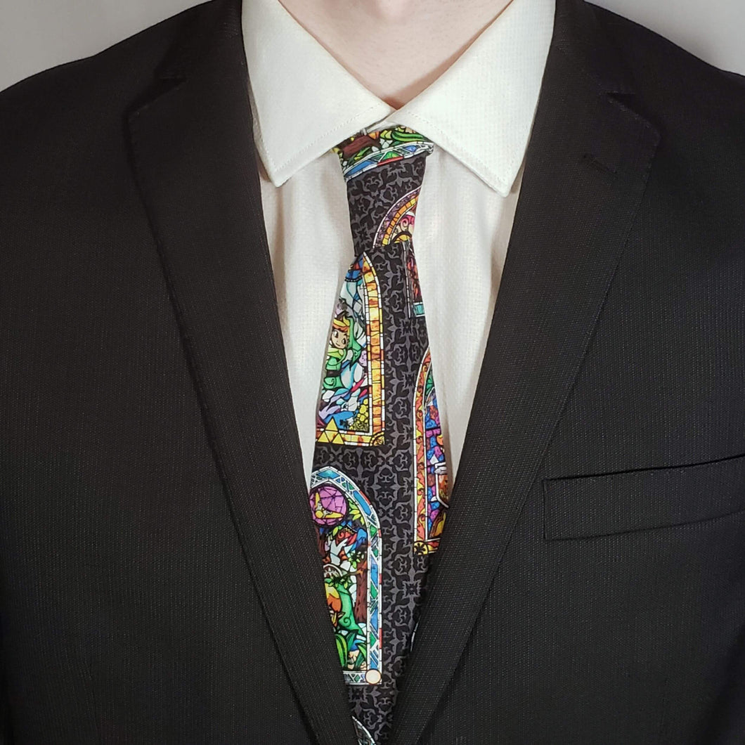Legend of Zelda Stainglass Necktie Worn with Suit