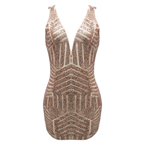 Exposed Mayan Sequins Bodycon Dress