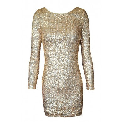 Draped Backless Bodycon Sequins Dress Gold