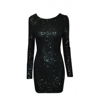Draped Backless Bodycon Sequins Dress Black
