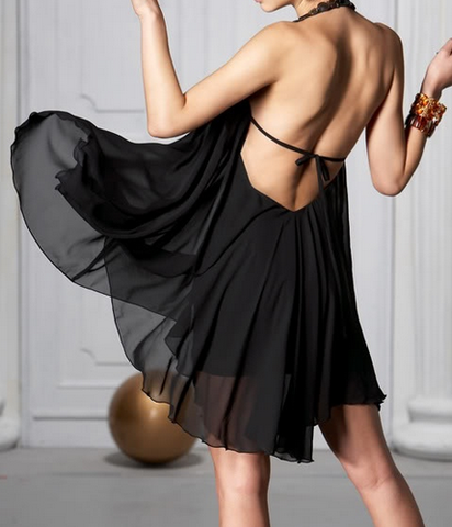Backless Jewelled Halter Chiffon Dress
