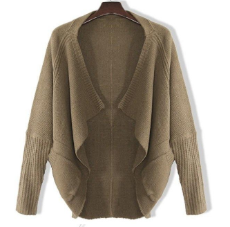 Slouchy Knit Drape Cardigan Beige Brown