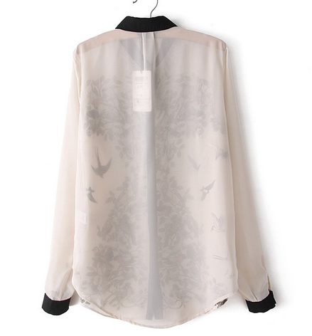 Birds in Nature Chiffon Blouse