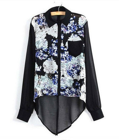 Floral Blooms Dipped Chiffon Blouse