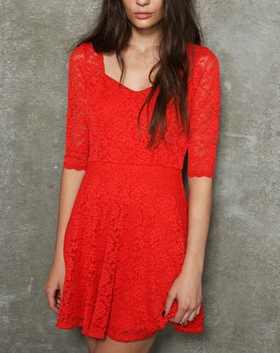 Half-Sleeves Sweetheart Lace Skater Dress