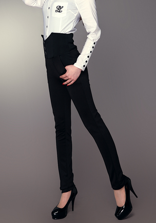 Black High-Waisted Long Trouser Pants