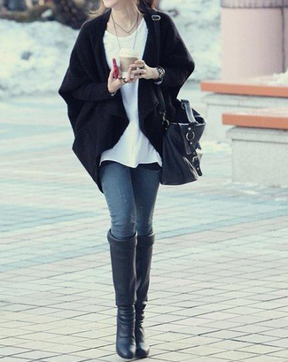 Slouchy Knit Drape Cardigan Black