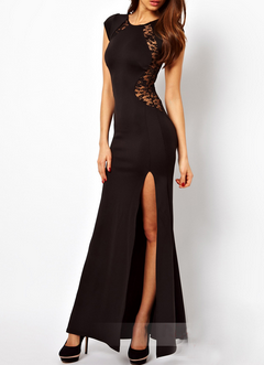 Cap-Sleeved Lace High Slit Maxi Dress