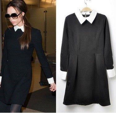 Monochrome Contrast Edges Long-Sleeved Dress