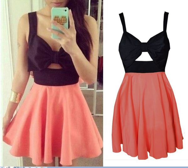 Bow Front Contrast Dress Coral