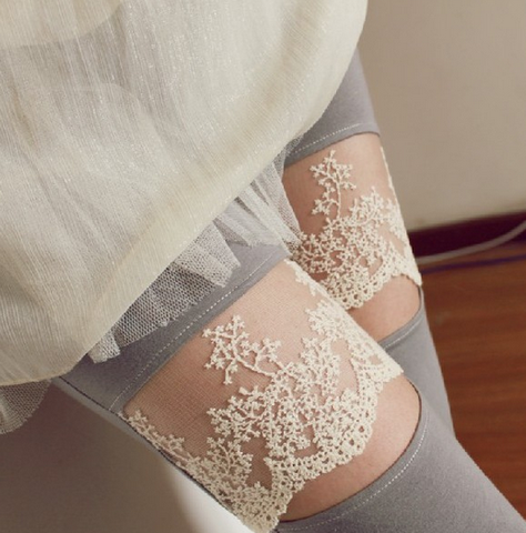Cotton Lace Sweetheart Floral Garter-Style Tights