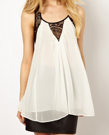Grid Lace Back Chiffon Sleeveless Vest Black