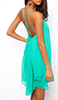 Cross-Back Metal Stud Chiffon Dress Green