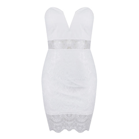 Peek-a-boo Bustier Lace Bodycon Dress