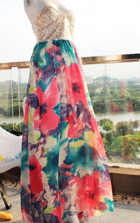 Floral Sequins Busier Maxi Dress