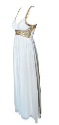 Gold Sequins Chiffon Maxi Dress White