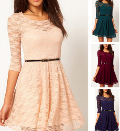 Lace Half-Sleeved Belted Sweetheart Dress