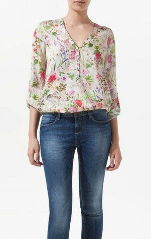 Spring Blooms Floral Blouse