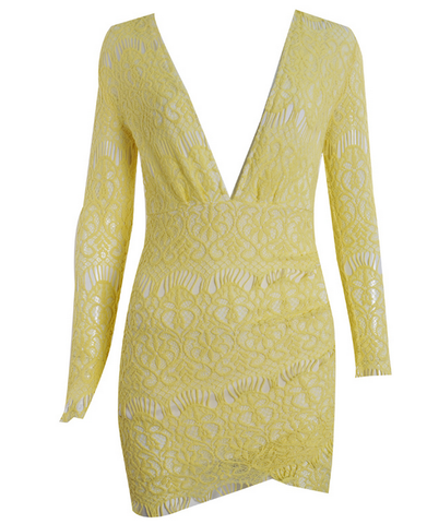 Canary Yellow Low V-Neck Exposed Dress
