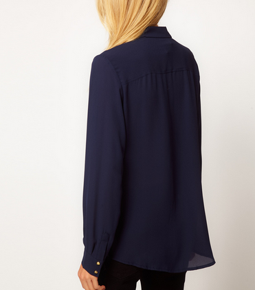 Navy Rivet Studded Chiffon Blouse