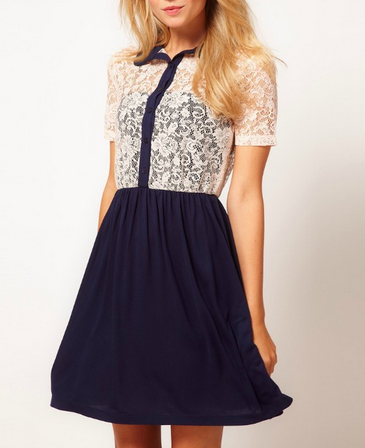 Navy Sheer Lace Collar Shirt Dress