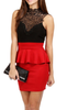 Lace Collar Bow Back Peplum Fitted Dress