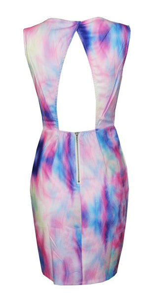Pastels Watercolor Exposed Plunge Dress