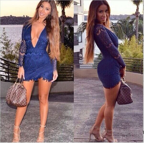 Navy Lace Low V-Neck Exposed Dress