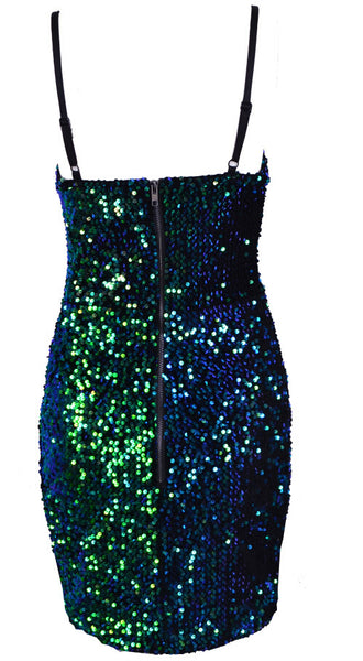 Emerald Sequins Bustier Strapless Bodycon Dress