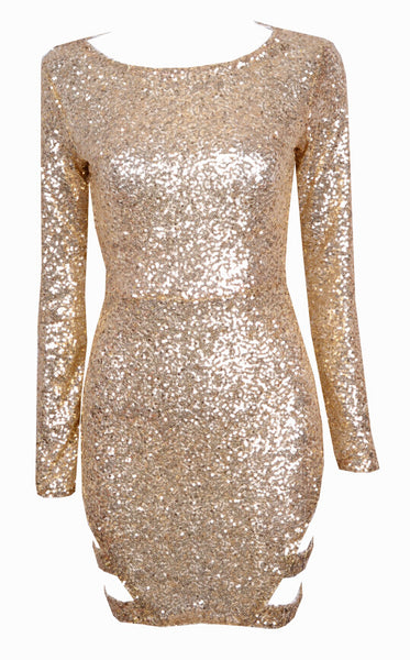 Sequins Cut Out Bodycon Dress