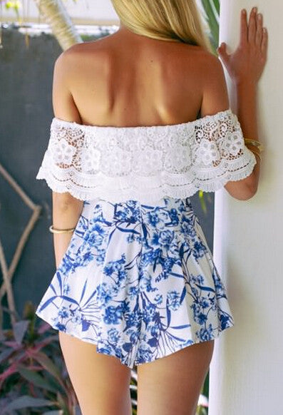 Sweet Oriental Lace Off Shoulder Romper Playsuit