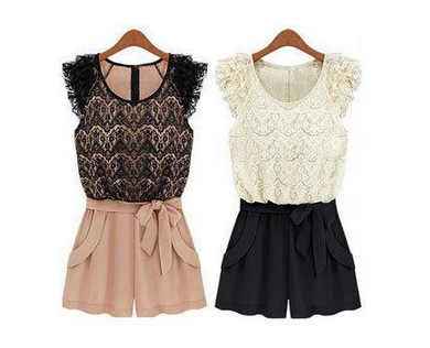 Ruffled Lace Playsuit Romper