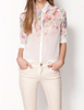 Spring Faded Floral Prints Chiffon Blouse