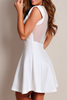 Structured Deep-V Mesh Skater Dress White