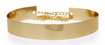 Full Metallic & Chain Plated Waist Belt Gold