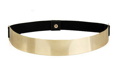 Slim Metallic Gold Plated Elastic Waist Belt