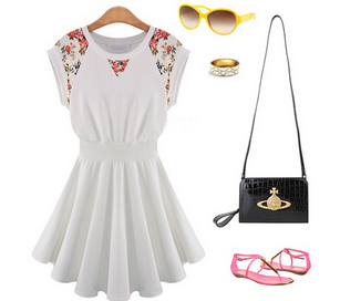 Floral Oriental Fit and Flare Dress