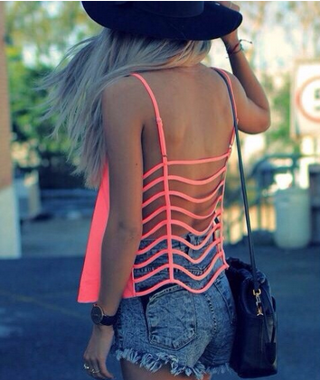 Neon Cage Back Top