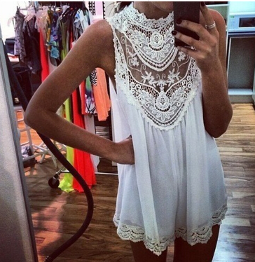 Vintage Lace Crochet Sleeveless Tunic Top