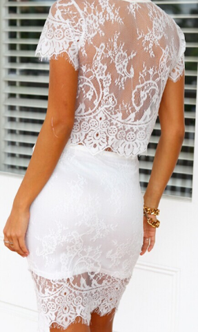 Vintage Two-Piece Cropped Lace Midi Dress