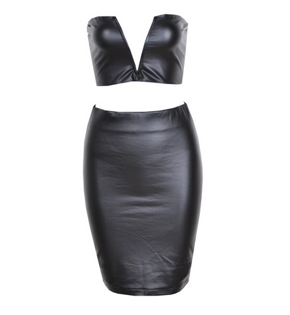 Leather Two-Piece Cropped Bodycon Midi Dress